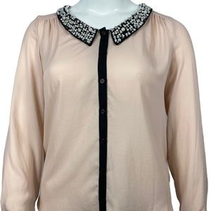 🆕 NWT Bellatrix embellished collar blush top